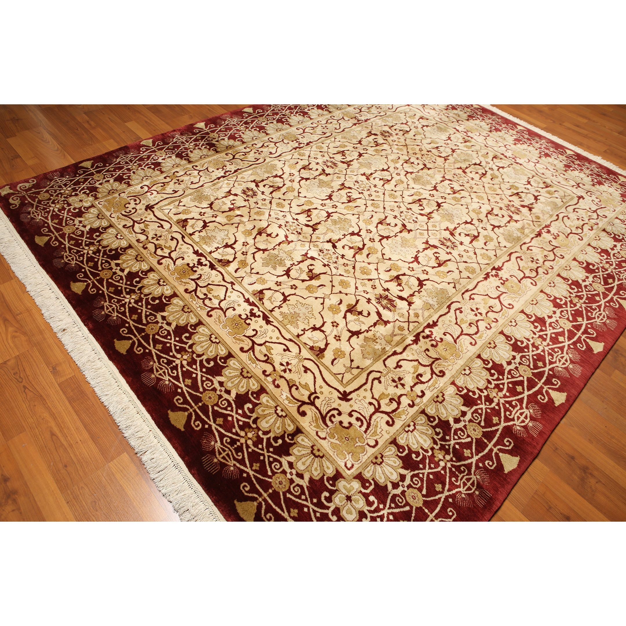 Hand Knotted Indian Beige And Burgundy Wool Area Rug 8 X 10