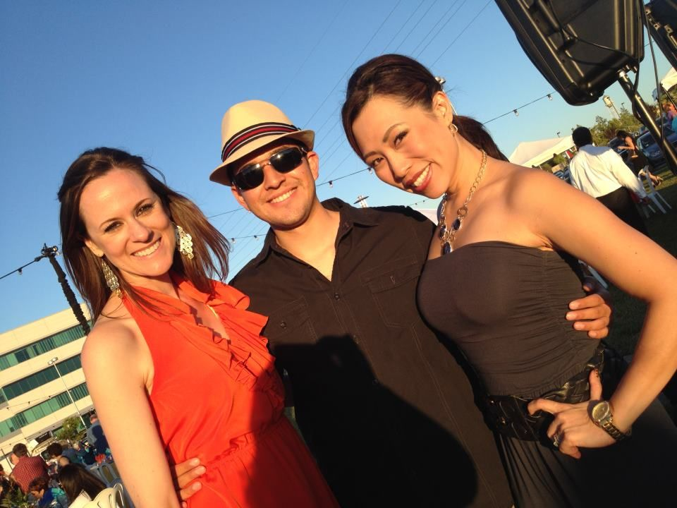 "Stephanie Stone, Carlos Saucedo, and Christine Park ""dressed down"" in summer fashions for Fiesta de Los Ninos"
