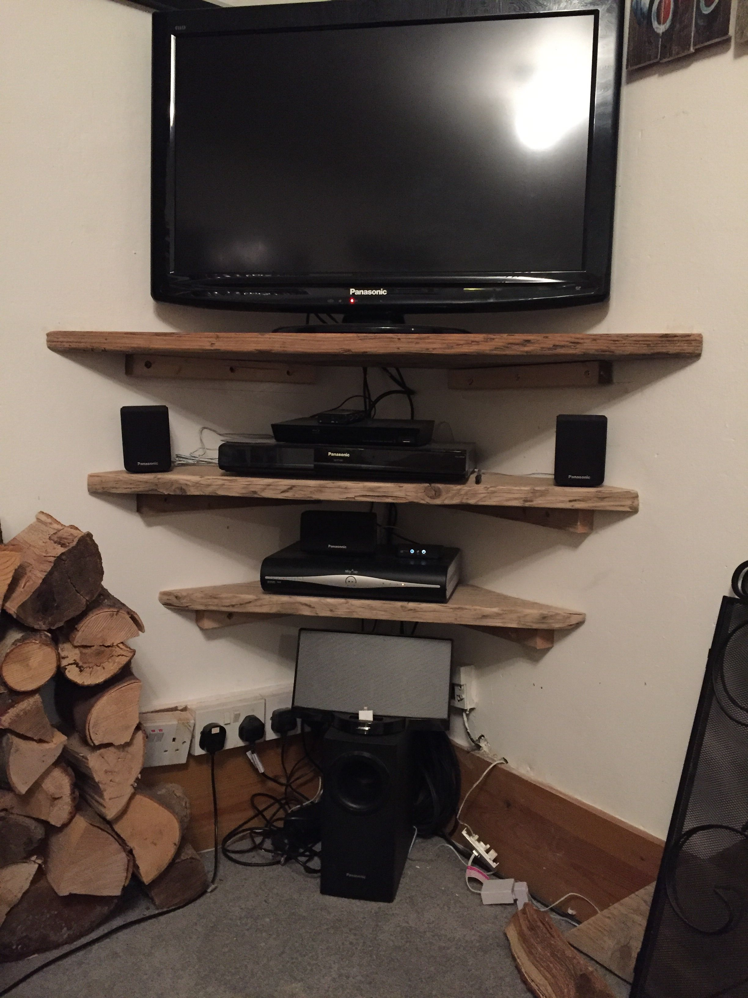 Television Shelves Finished Using Old Scaffold Boards Sanded And