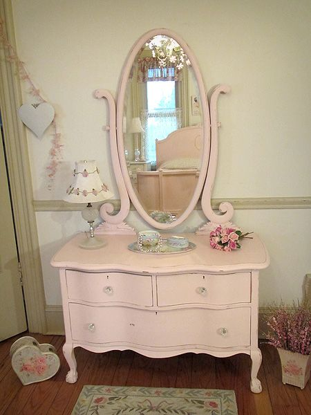 Romantic Pink Antique Dresser With Oval Harp Mirror