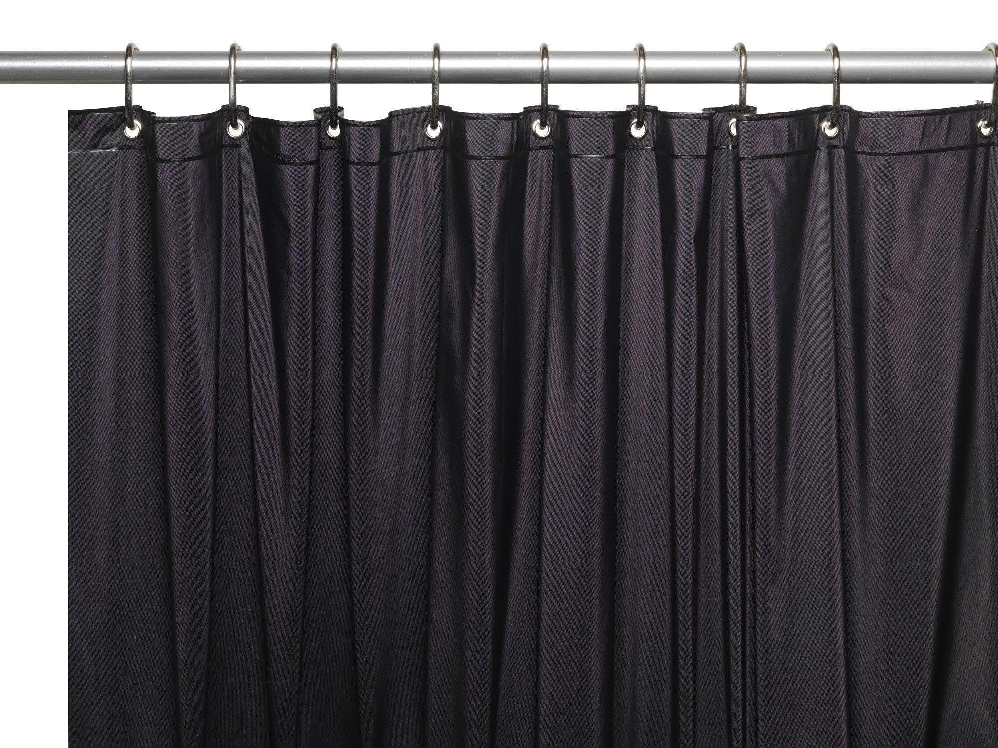 Royal Bath Extra Wide 5 Gauge Vinyl Shower Curtain Liner With Metal Grommets In Black Size 72