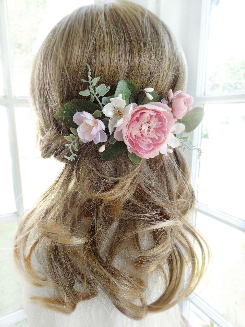 Bridal hair comb, pink flower hair clip, wedding headpiece