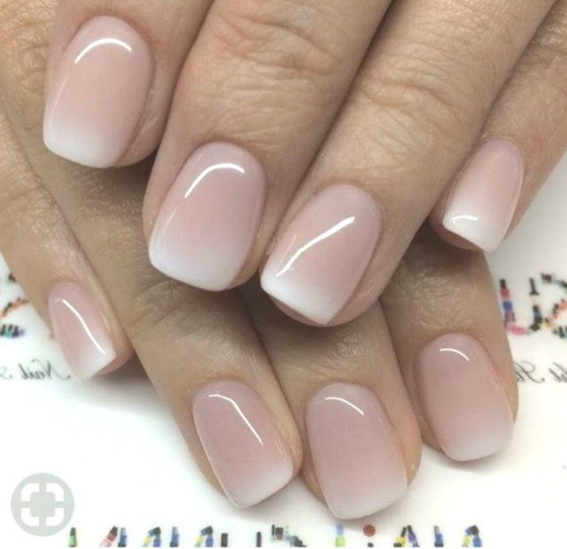 14 Ombre Nails Shellac White Pink Ombre Acrylic Fingernails Manicure French Tip Square Shaped Long Nails Ombre Gel Nails Gel Nails French Elegant Nails