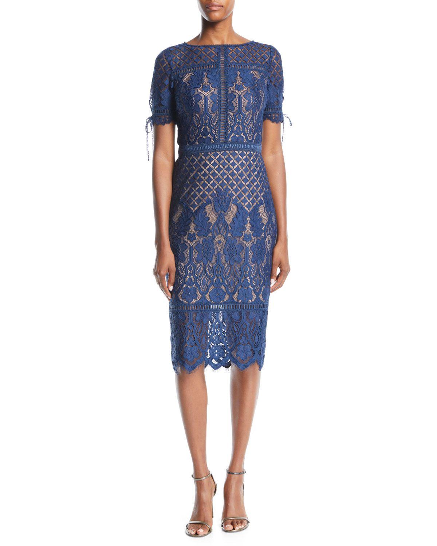 Tadashi Shoji Short Sleeve Lace Dress W Tie Details Short Sleeve Lace Dress Black Lace Midi Dress Lace Dress [ 1500 x 1200 Pixel ]