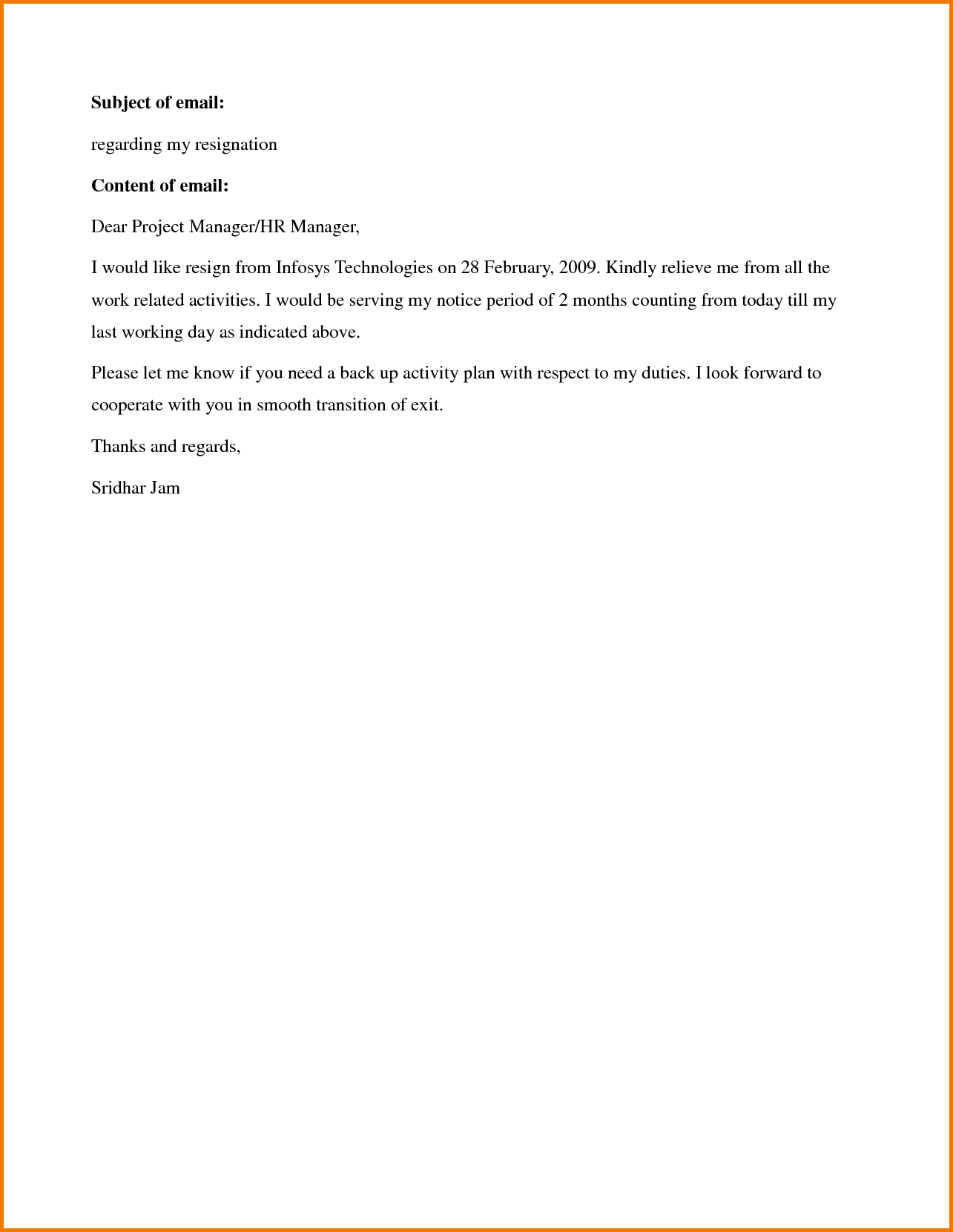 Resignation Letter Sample One Month Notice Period Expense Report