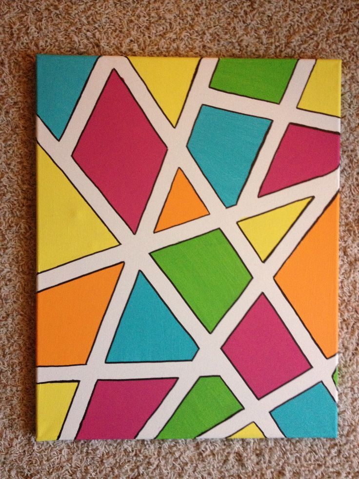 Art project using masking tape geometric …