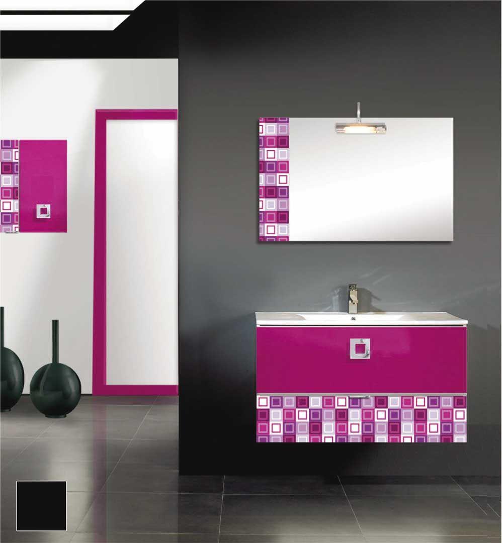 Elegante Mueble De Ba O Con Lacado En Color Fucsia Decoraci N  # Muebles Color Fucsia