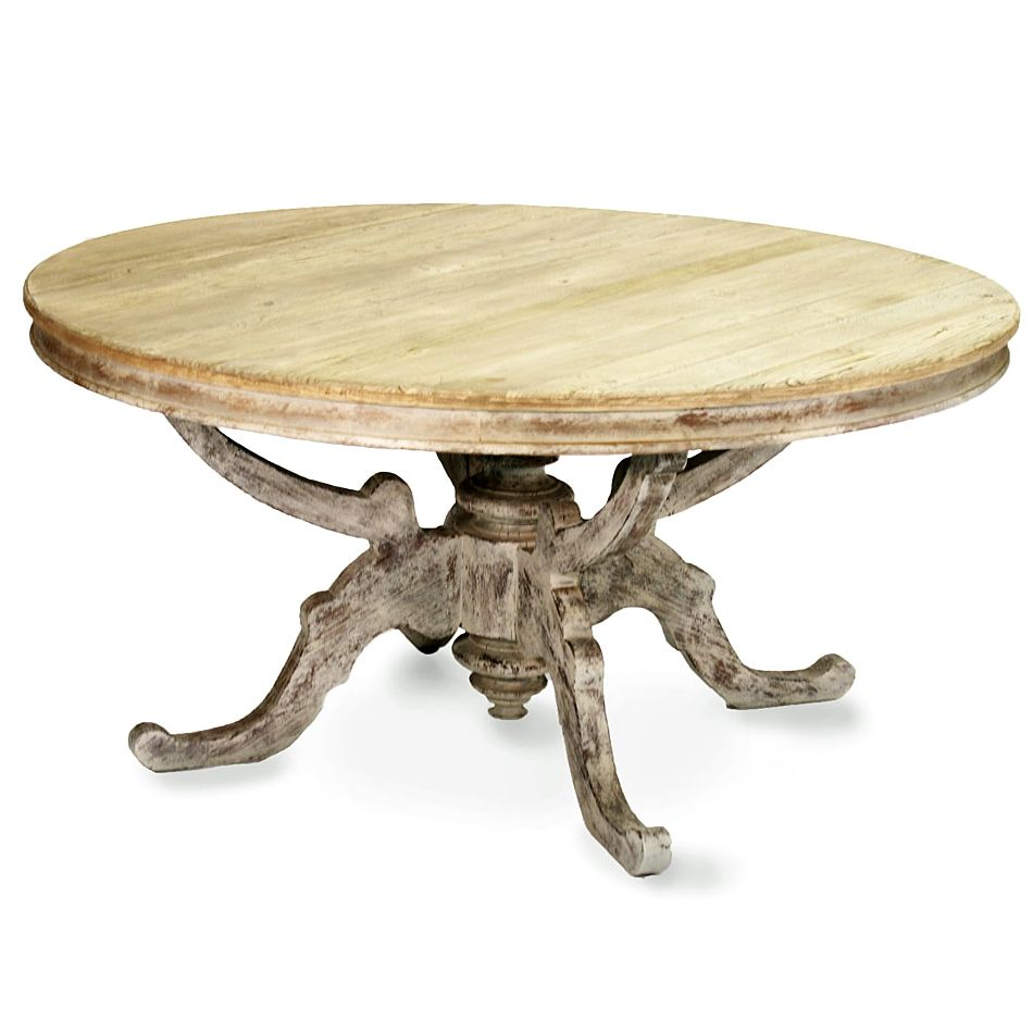 French Country Round Dining Table: Round French Country Dining Table - Natural Wood