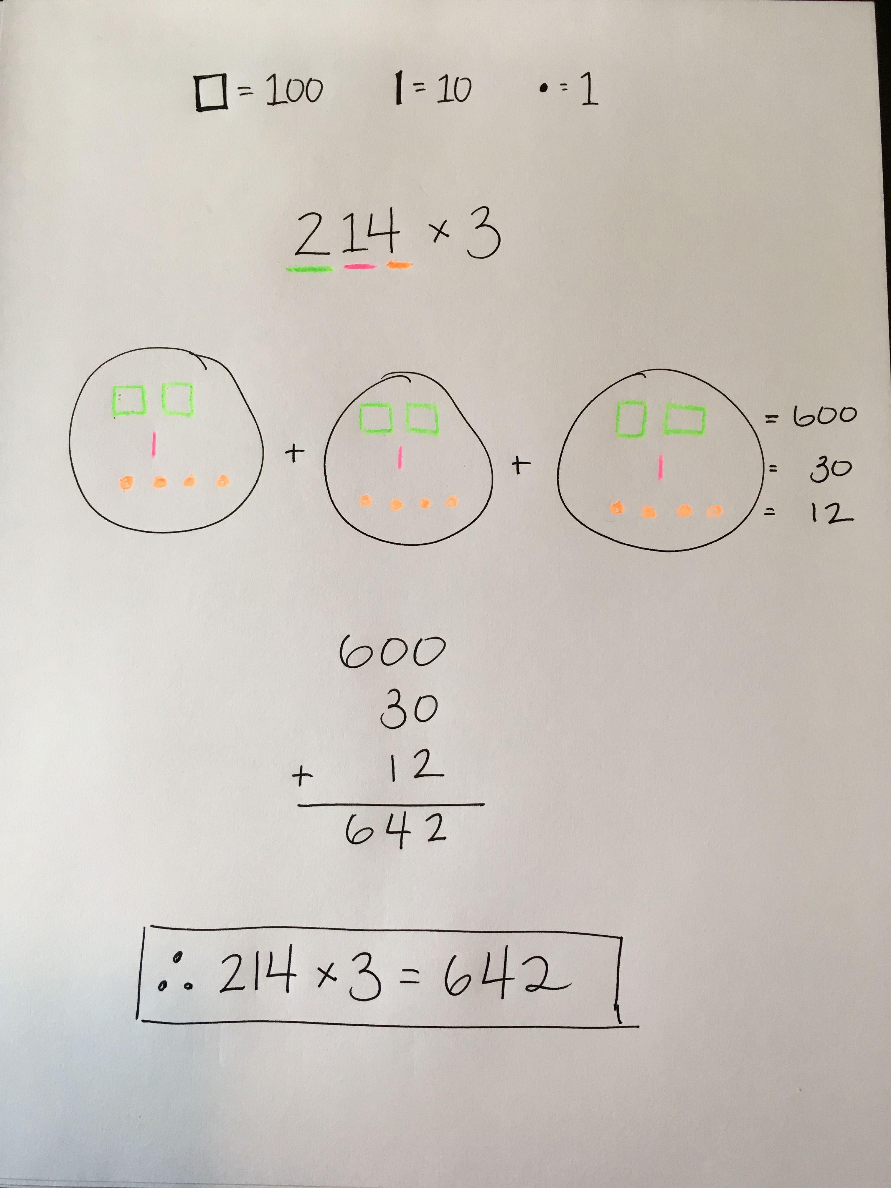 Base Ten Model Multiplication 3 Digit Multiplication