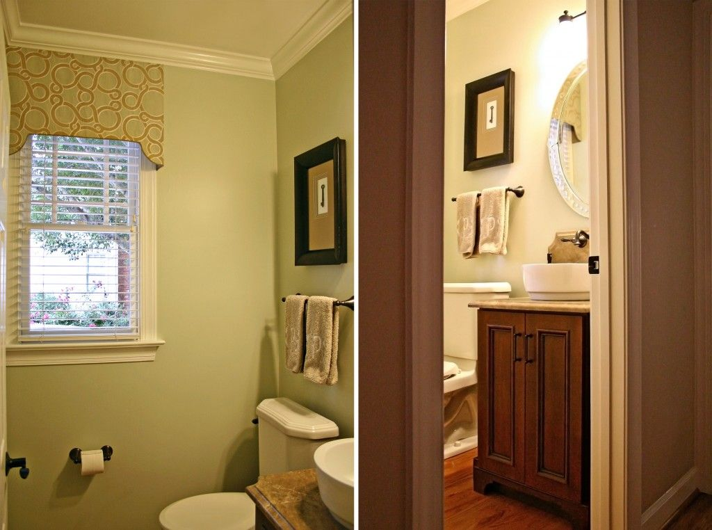 green powder room | We went with a fresh and clean color pallette, which truly brightened ...