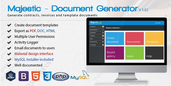 Majestic - Create documents from templates Easily generate - invoice generator pdf