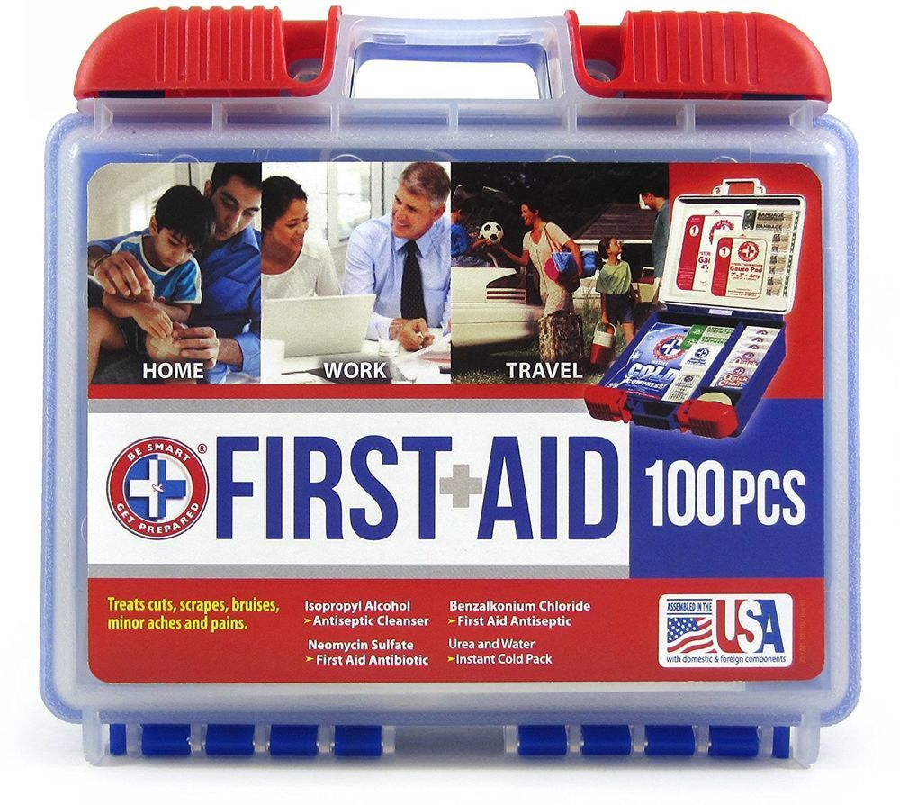 Details about First Aid Kit 100 pc Emergency Bag Home Car