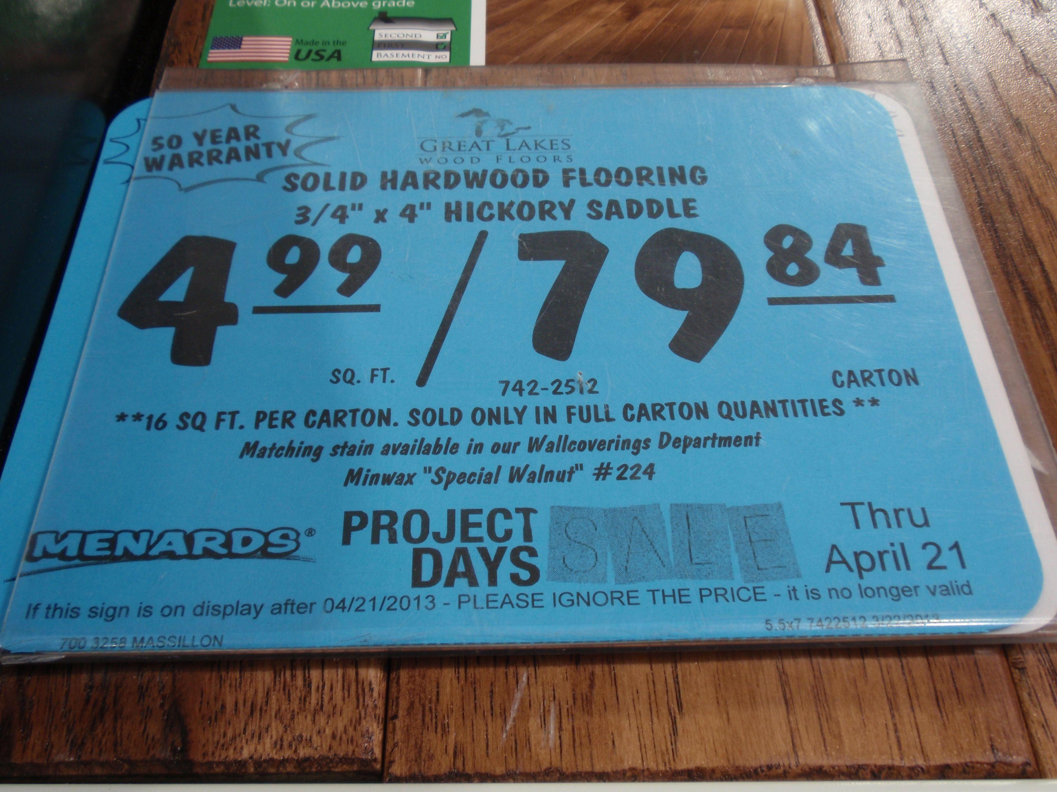 floor prices at Menards