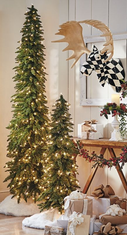 Our magnificent Down-swept Slim Pine Christmas Tree is such a space-saving  wonder, 3 trees approximate the footprint of just a single standard-sized  tree. - Down-Swept Slim Pine Trees Fun & Festive! Pinterest Christmas