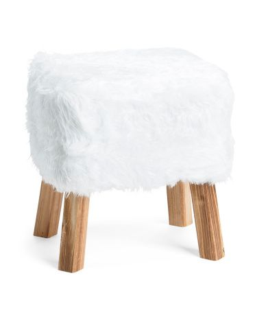 Incredible Three Hands Faux Fur Wood Stool Stuff For The Home Wood Cjindustries Chair Design For Home Cjindustriesco