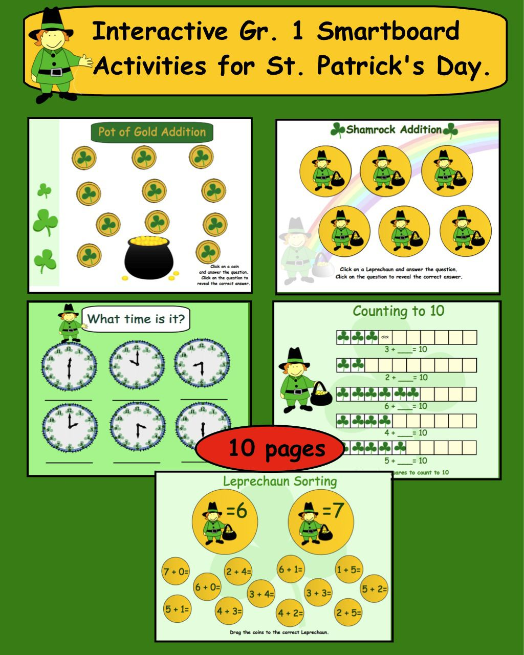 St Patrick S Day Math Interactive Smartboard File For Gr