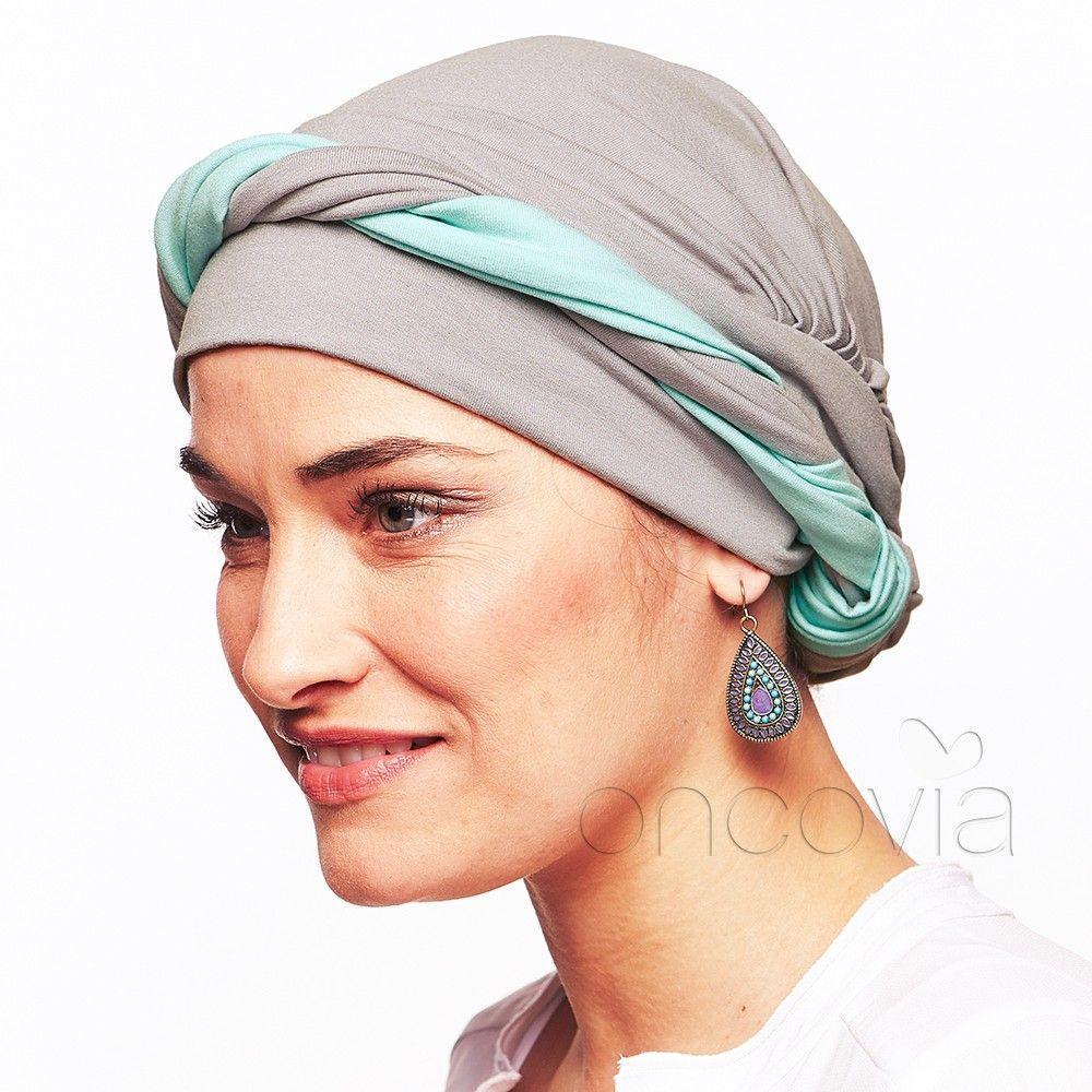 Foulard Chimio Julia - Gris et Turquoise | Bonnet chimio | Pinterest