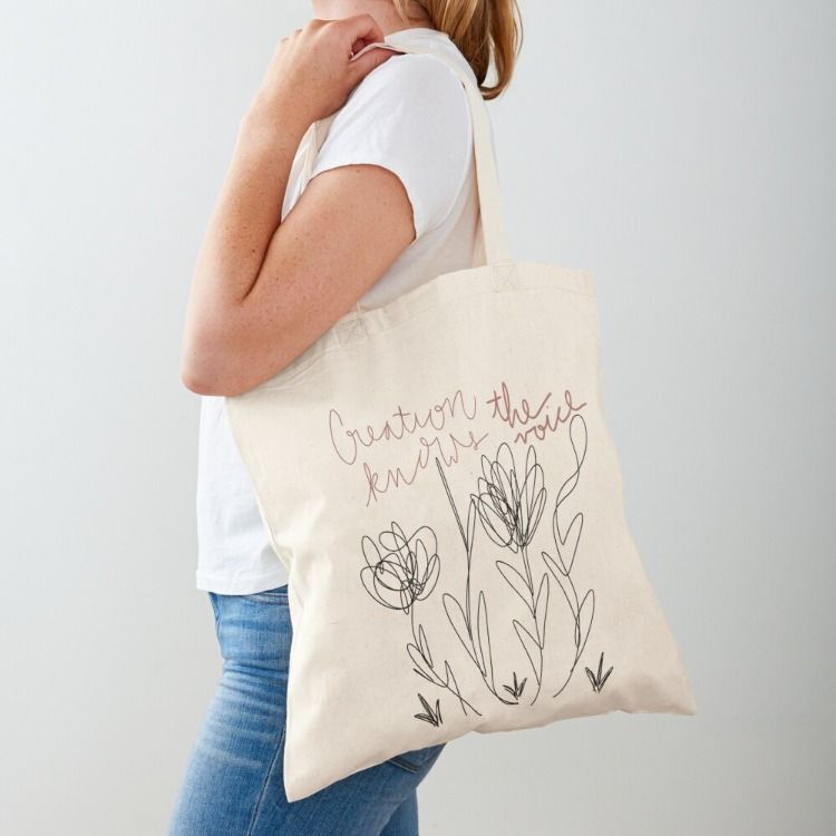 Download Creation Knows The Voice Art Tote Bag Printed Tote Bags Pink Tote Bags