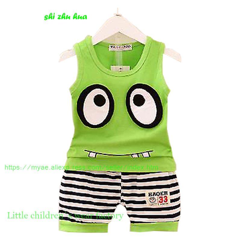 a86e56673 Children s clothing Set summer boy sportswear baby vest + shorts ...