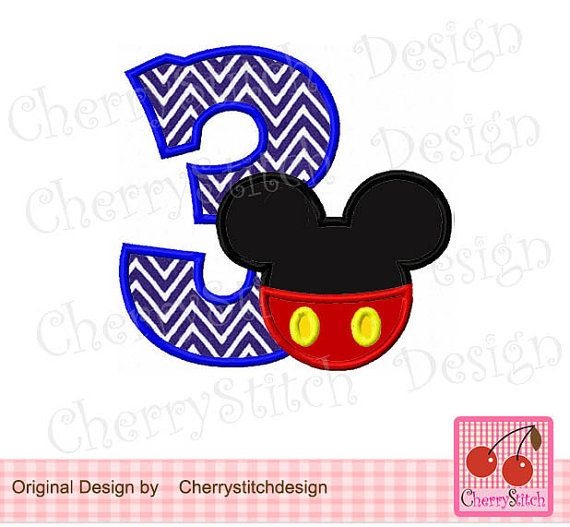 Mickey Number 3 Birthday Machine Embroidery Applique