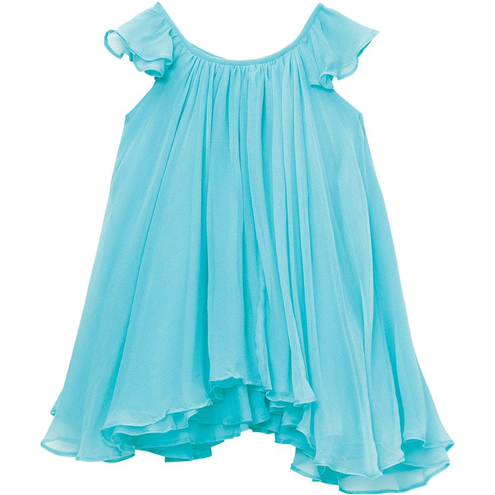 Isabella Party DressVELVETEEN's Isabella Party Dress. Layers of delicate hand-dyed silk georgette cascade into an uneven hemline to give this classic party dress silhouette a modern and edgy twist. Delicate flutter sleeves and a satin ribbon closure at back add the perfect finishing touches. Available in two colours, Ice Blue and Petal Pink. Girls sizes 3Y - 8Y, lengths run slightly short to size.  Colour Shown: Ice Blue 100% Silk.