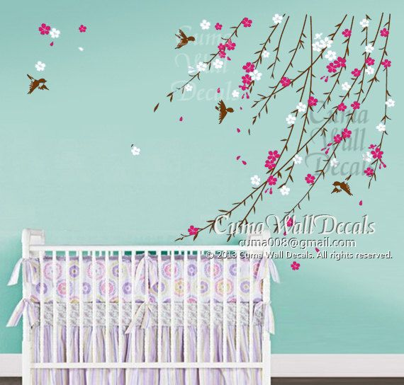 Baby Girl Flower Wall Decal Nursery Wall Decal And Birds Pink - Wall stickers for girlspink cherry blossom tree with birds wall stickers girls bedroom