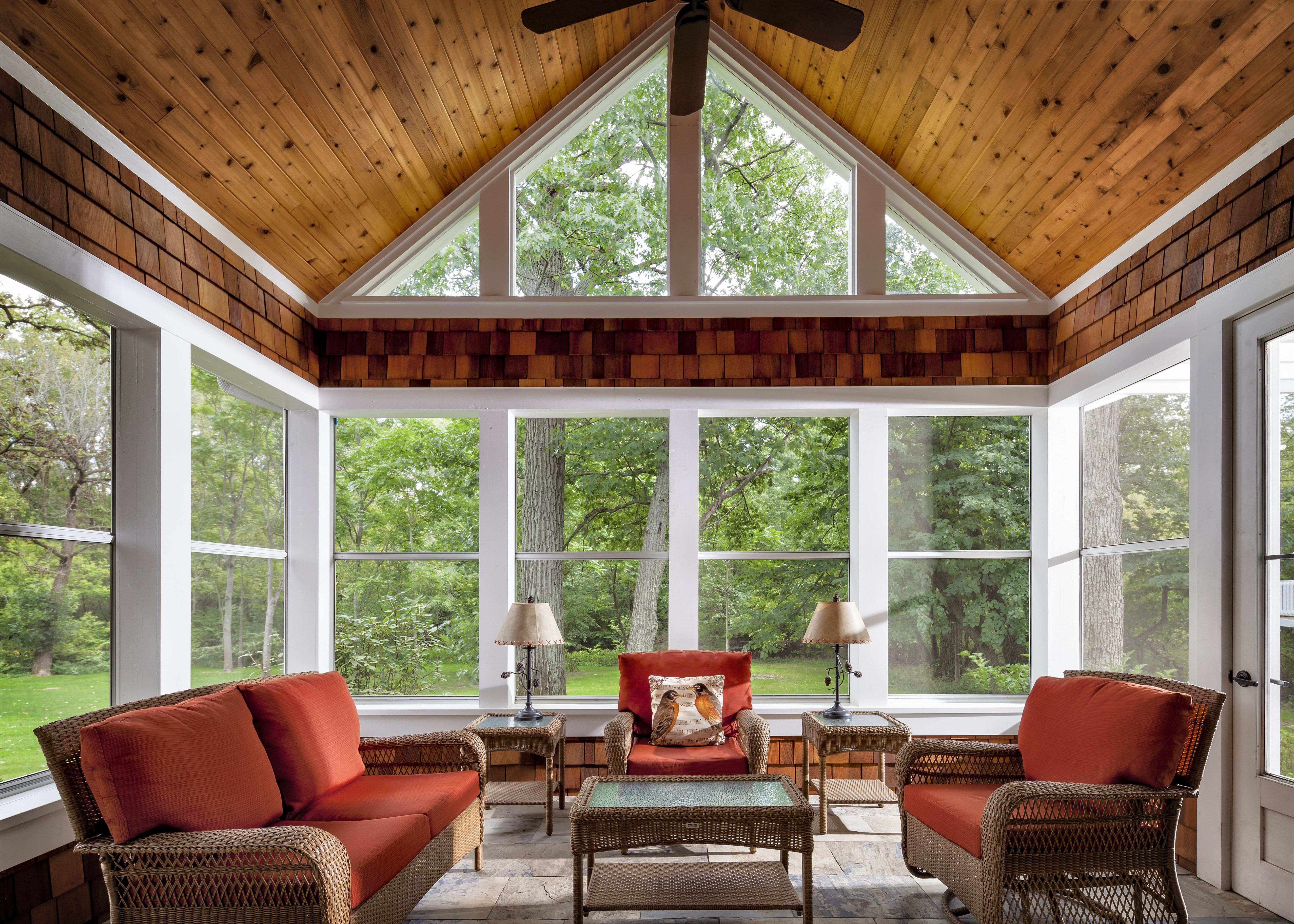 Screen porch with knotty pine ceiling, cedar shake accents ...