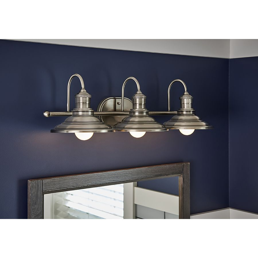 Shop allen + roth Hainsbrook 3-Light 25.98-in Antique pewter Cone Vanity  Light at Lowes.com. Lowes BathroomRemodel ...