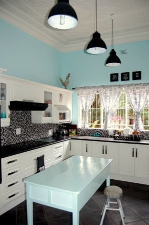 Teal Black White And Grey Kitchen For The House