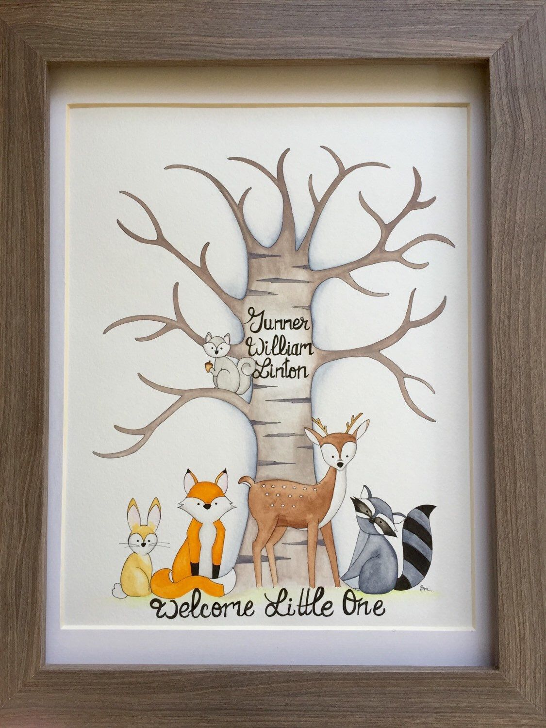 Woodland Creatures Fingerprint Guestbook. Woodland Animals Baby Shower  Guestbook. Animals Fingerprint Tree. By