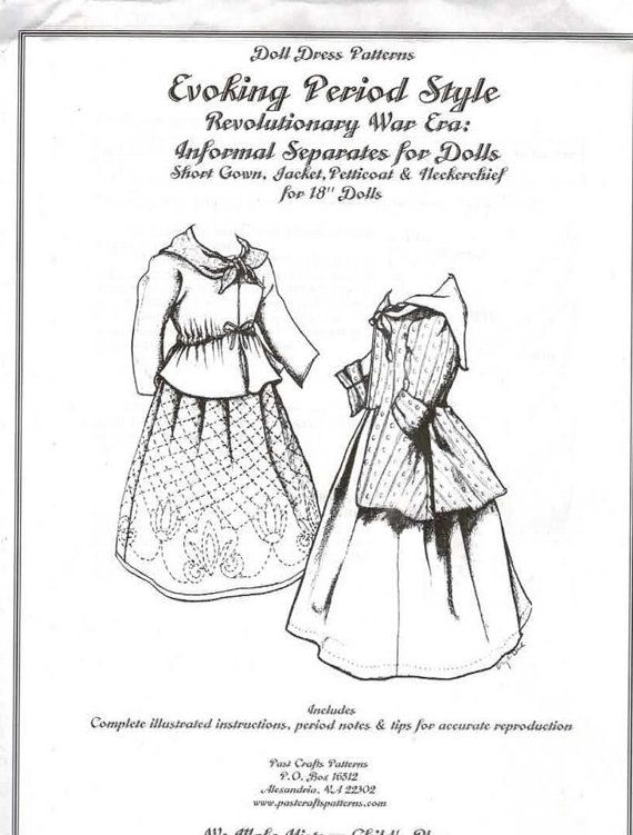 18 Inch Doll Clothes Pattern Past Craft Colonial Separates Short ...