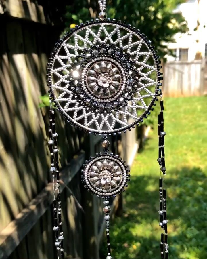 This beautiful dream catcher made with Miyuki Delica seed beads and Swarovski crystals is available at SplendidBeads's Etsy Shop