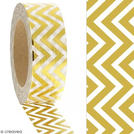 Masking tape Foil Chevrons dorés - 1,5 cm x 10 m Masking tape