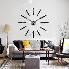 Modern DIY Large Wall Clock 3D Mirror Surface Sticker Living Room ...