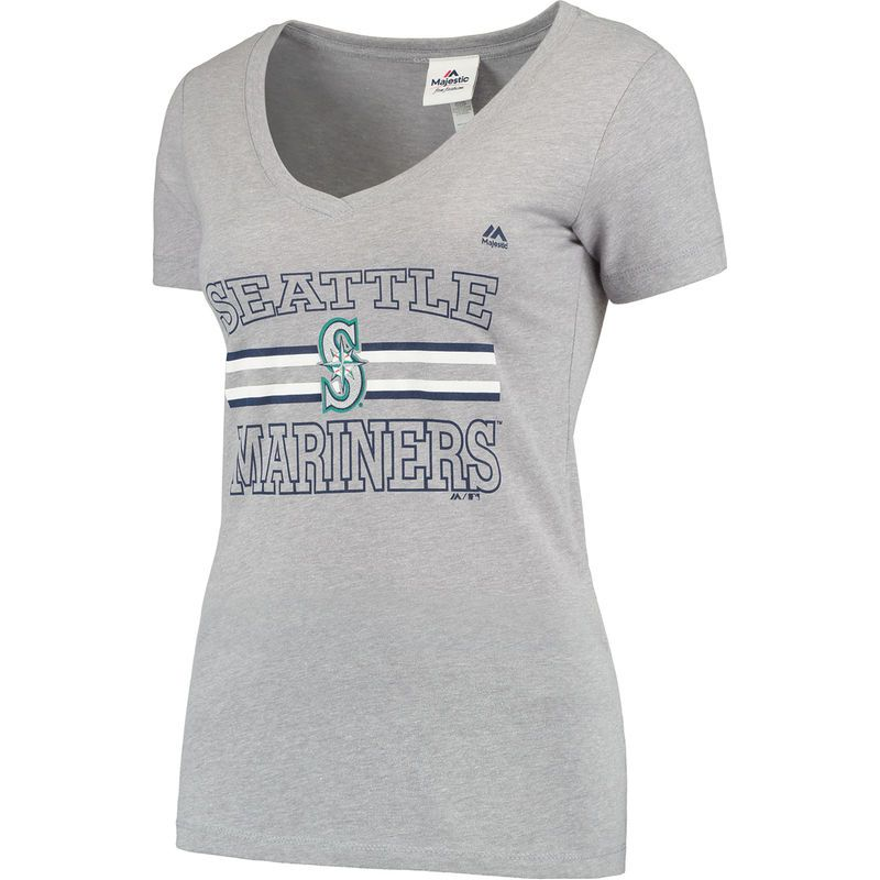 945749fa036d75 Women s Majestic Heathered Gray Seattle Mariners Striped-Out V-Neck T-Shirt