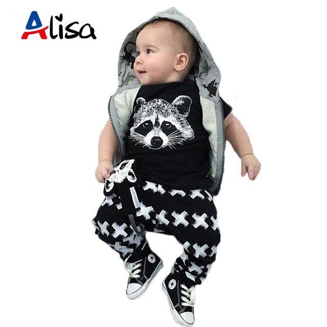 4a3143afce54d Newborn 2016 toddler baby boy clothing sets autumn short sleeve fox t-shirts  + pants 2pcs black casual baby boy clothes sets