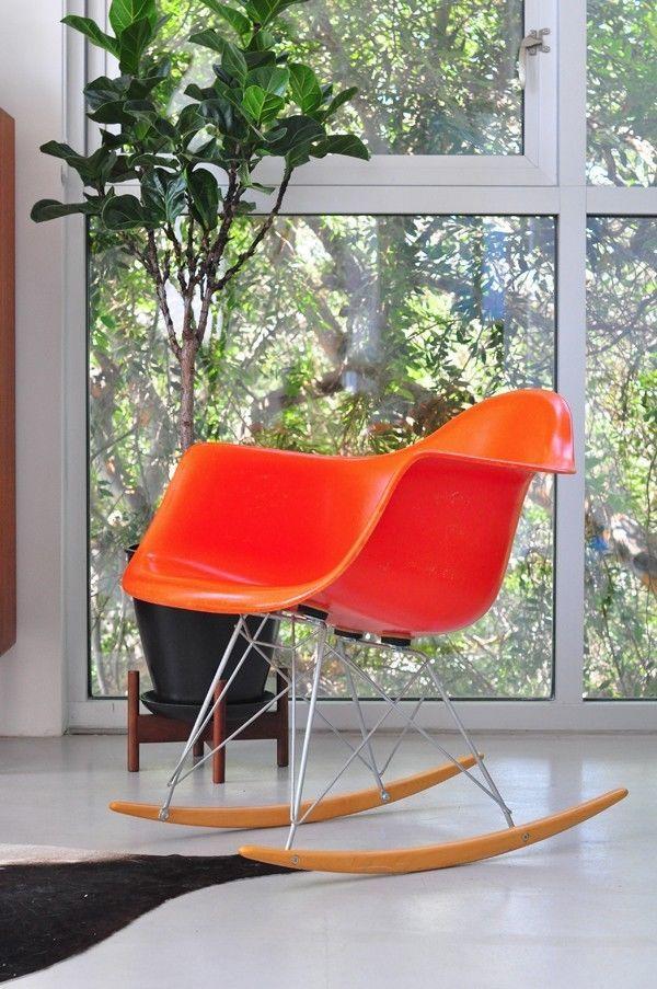 Eames Fiberglass Shell Rocking Chair Rocker Herman Miller Modernica Orange  $435