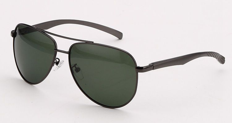 d48b3e2295e1 Vintage Aviator Polarized Sunglasses Occhiali da Sole Mens Gun Grey Alloy  Frame Green Lens