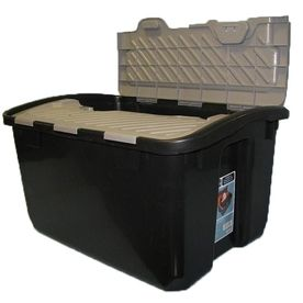 Real Organized 12 Gallon General Tote With Hinged Lid Plastic Crates Frugal Shopping Crates