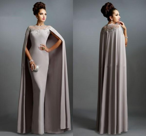 Vintage Wedding Dresses Glasgow: Elengant Formal Muslim Gray Evening Dresses Elie Saab Cape