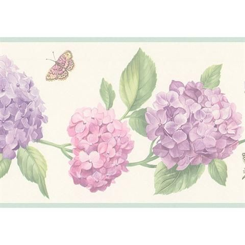 Hydrangea with butterfly Floral wallpaper border