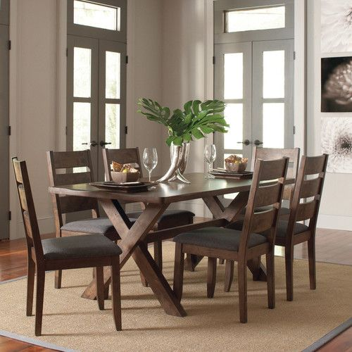 Found It At Wayfair Ventura 7 Piece Dark Brown Dining Set Side Chairs Dining Dining Table Setting Rustic Trestle Dining Table