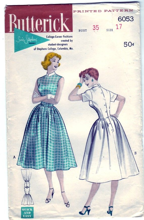 FREE SHIPPING Vintage 1952 Butterick 6053 Sewing Pattern Junior's Bell-Skirted Button Back Dress Size 17 Bust 35