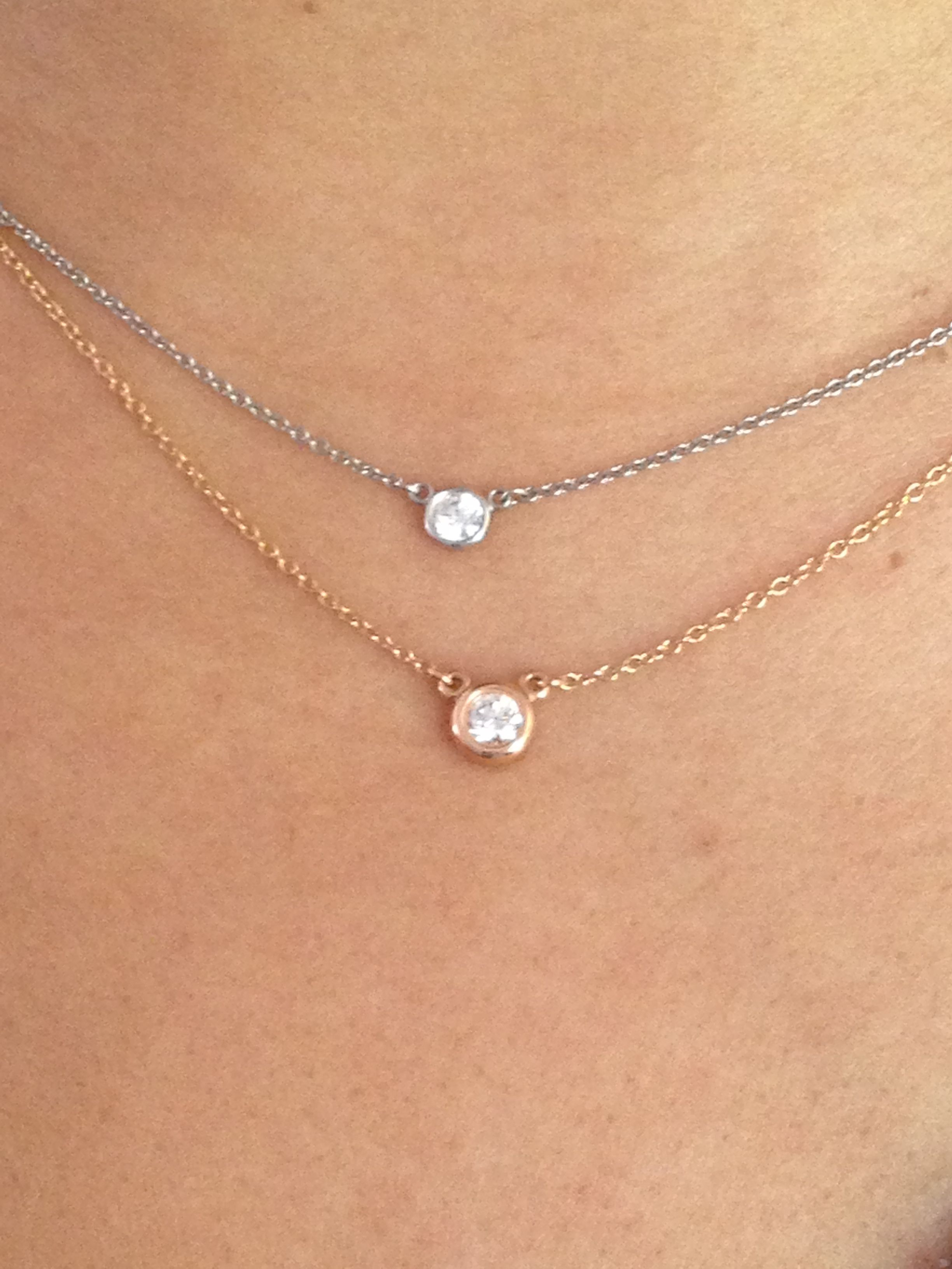 Diamond by the yard elsa peretti tiffany co tco platinum and diamond by the yard elsa peretti tiffany co tco platinum and rose gold diamond necklaces 013 and 017 cts aloadofball Images