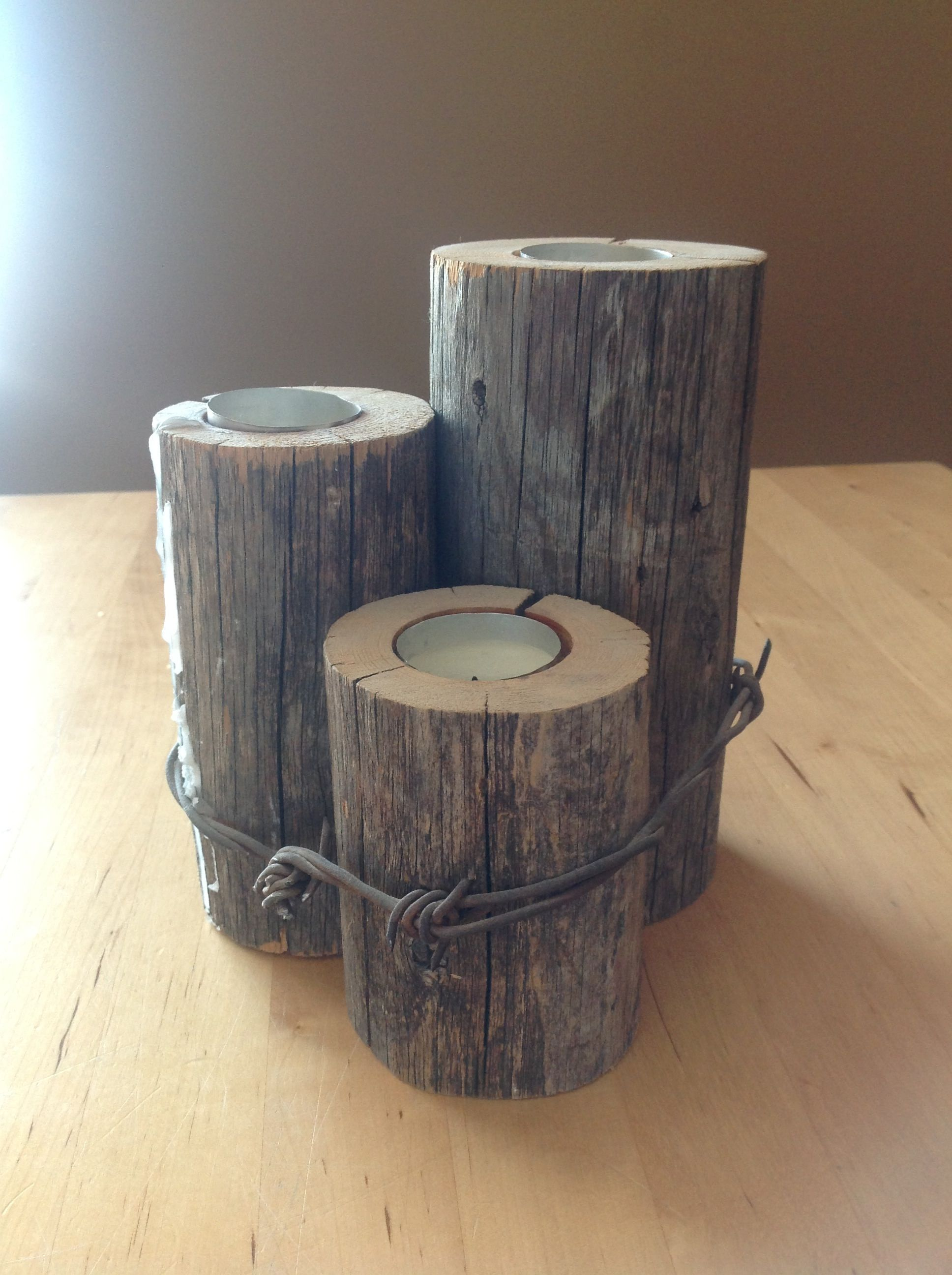 Candle Centre Piece Made From Old Fence Post And Barbed Wire