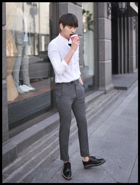 b33f6bb304b9 MITOSHOP - Mandarin-Collar Pocket-Front  Shirt  white  koreanfashion Asian  Men
