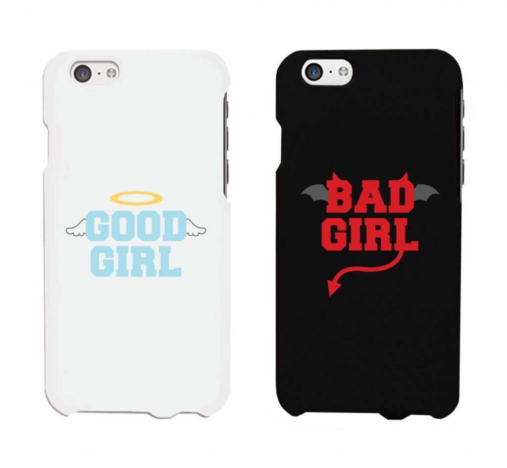 2ccce1cb0d Bad Girl Good Girl White And Black Cute BFF Matching Phone Cases ...