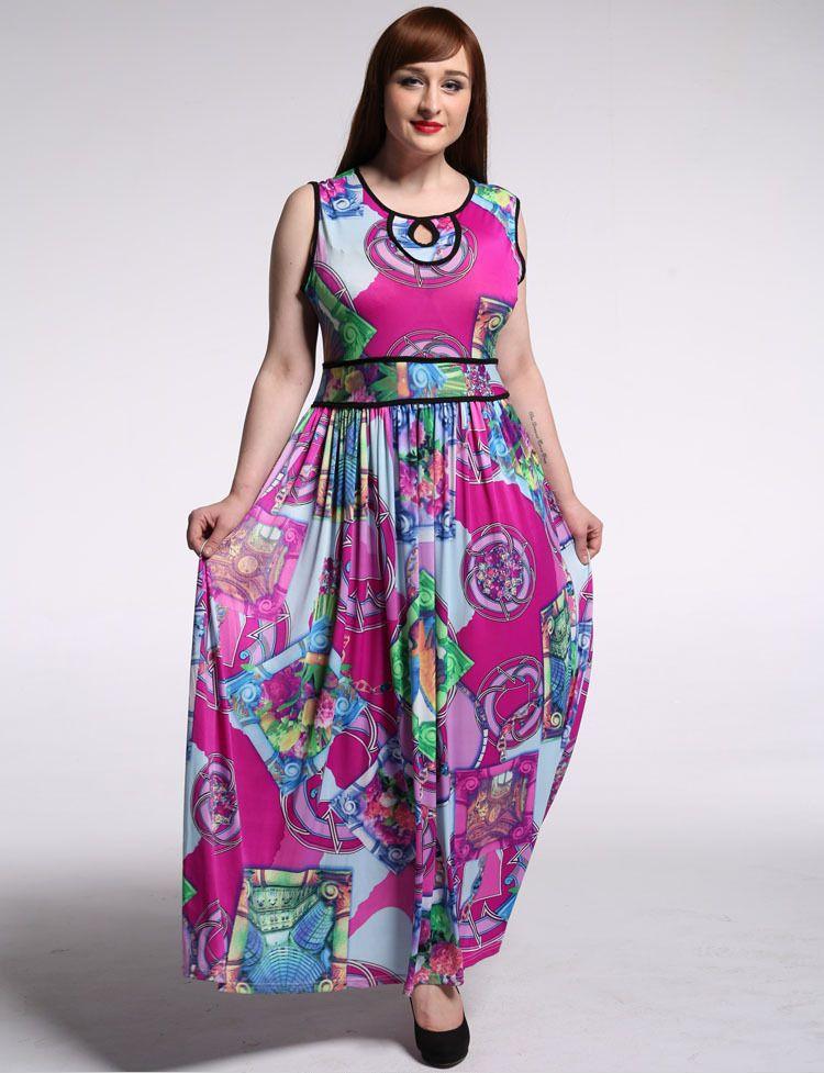 Newest Design Women Contrast Color Long Silk Dress Pattern Sleeveless Round  Neck Maxi African Wax Print Dresses d20c2b5cab4a