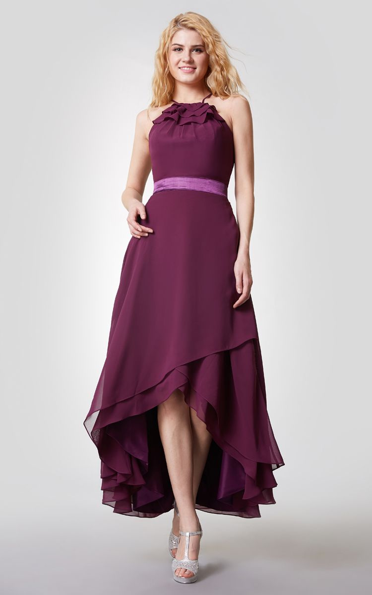 Us u halter neck highlow chiffon bridesmaid dress