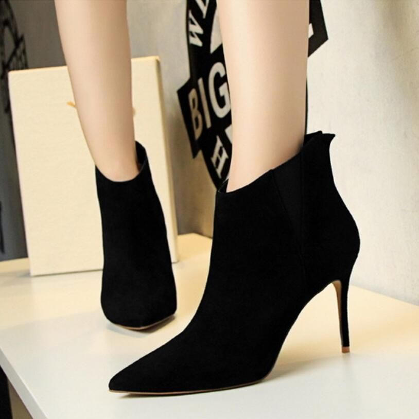 Women's Pointed Toe Thin Heel Zipper Booties Autumn Winter Ankle Boots with Shoelace